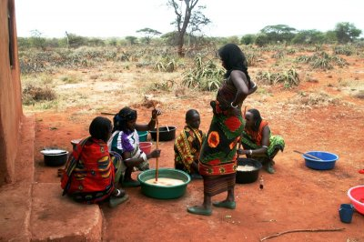 Women group making Aloe vera soap